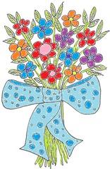Blumenstrauß bunt - Blumen, Blumenstrauß, Blumengebinde, Pflanzen, Blüten, Farbe, Geburtstag, Schleife, Gabe, Geschenk, Mitbringsel, bunt, Farben