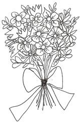 Blumenstrauß  - Blumen, Blumenstrauß, Blumengebinde, Pflanzen, Blüten, Farbe, Geburtstag, Schleife, Gabe, Geschenk, Mitbringsel