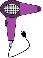 Fön farbig - Fön, Haartrockner, hairdryer, Haare, trocknen, Frisur, Friseur, Bad, elektrisch, Heißluft, fönen, Zeichnung, Illustration, Kabel, Stecker