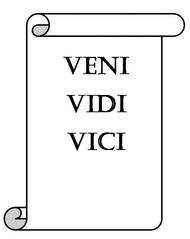 Schriftrolle Latein - Schriftrolle, Schrift, Latein, Schulfach, Symbol, Zeichen, Zeichnung, Illustration, veni, vidi, vici, Schrift