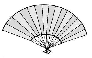 Fächer - Fächer, Spanien, spanisch, Zeichnung, Illustration, heiß, Hitze, Frischluft, fächern, Tradition, landestypisch, Symbol, Zeichen, Luft, Wind, Kreisausschnitt, Kreissektor, Mathematik, Kreisteil