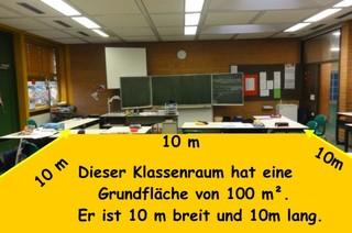 Fläche 1 ar - Fläche, Grundfläche, Quadratmeter, ar, 100 Quadratmeter, Klassenraum, Klassenzimmer, Größenvorstellung, Größenvergleich