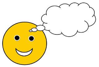 Smiley #6 - froh mit Sprechblase(leer) - Smiley, Zeichen, Zeichnung, Illustration, Button, Bewertung, Symbol, Sprechblase, Idee