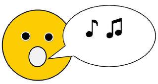 Smiley #10 - singend mit Sprechblase(Noten) - Smiley, Zeichen, Zeichnung, Illustration, Button, Symbol, Sprechblase, singen, Lied, Musik, Noten