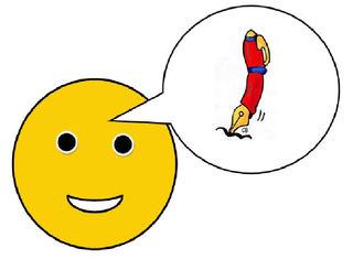 Smiley #11- mit Sprechblase (Füller) - Smiley, Zeichen, Zeichnung, Illustration, Button, Symbol, Sprechblase, Auftrag, schreiben, Füller