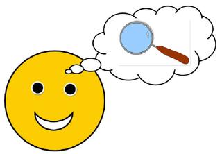 Smiley #13 - mit Sprechblase (Lupe) - Smiley, Zeichen, Zeichnung, Illustration, Button, Symbol, Sprechblase, Auftrag, forschen, suchen, Forscherauftrag, untersuchen, finden, Lupe