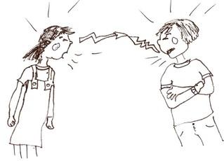 Streiten - Klassenregel, Streiten, Meinungsverschiedenheit, zanken, Krach, schreien, Symbolkarte, Schreibanlass, Organisation, Pantomime, Theater, Beziehung