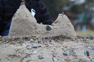 Sandburg#2 - Sandburg, Spiel, Urlaub, Kreativität, Burg, Sand, Wasser, bauen, Strand, Meer