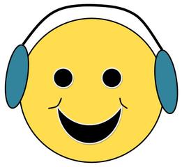 Smiley #27 mit Kopfhörer - Smiley, Zeichen, Zeichnung, Illustration, Button, Bewertung, Symbol, Emotion, Gefühl, Kopfhörer, Musik, hören