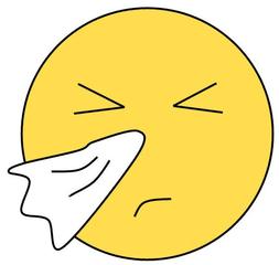 Smiley #28 erkältet - Smiley, Zeichen, Zeichnung, Illustration, Button, Bewertung, Symbol, Emotion, Gefühl, krank, erkältet, Erkältung, niesen, Taschentuch