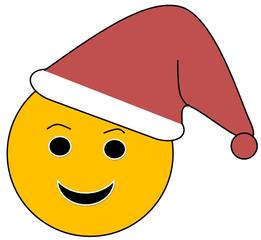 Smiley #30 Weihnachtsmann - Smiley, Zeichen, Zeichnung, Illustration, Button, Bewertung, Symbol, Emotion, Gefühl, Weihnachten, Weihnachtsmann, Mütze, rot