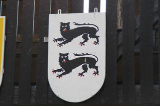 Wappen mit Leopard - Wappen, Tier, Wappentier, Leopard, Leoparden, zwei, Leopardenwappen, Heraldik, stehend, hersehend, stilisiert