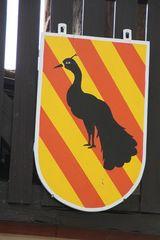 Wappen mit Pfau - Wappen, Tier, Wappentier, Pfau, Pfauenwappen, rechtslaufend, Heraldik, Eitelkeit, Auferstehung