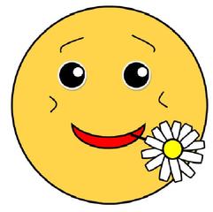 Smiley #31 mit Blümchen - Smiley, Zeichen, Zeichnung, Illustration, Button, Bewertung, Symbol, Emotion, Gefühl, froh, verliebt, Blümchen, Gänseblümchen, Freude