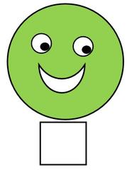Smiley #34a grün, leicht, einfach - Smiley, Zeichen, Zeichnung, Illustration, Button, Bewertung, Symbol, Emotion, Gefühl, fröhlich, froh, leicht, einfach, kann ich
