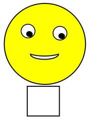 Smiley #34b  gelb, mittel, mittelschwierig - Smiley, Zeichen, Zeichnung, Illustration, Button, Bewertung, Symbol, Emotion, Gefühl, neutral, mittel, mittelschwer, mittelschwierig, gelb