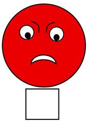 Smiley #34c  rot, schwierig, schwer,  - Smiley, Zeichen, Zeichnung, Illustration, Button, Bewertung, Symbol, Emotion, Gefühl, traurig, wütend, rot, schwierig, schwer, kann ich nicht, mag ich nicht