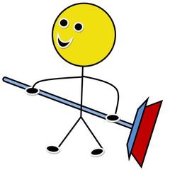 Putzdienst farbig - Piktogramm, Klassendienst, Dienst, Symbol, Zeichnung, Illustration, Putzdienst, putzen, Fegedienst, fegen, Klassenraum, Besen, Smiley, reinigen
