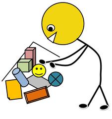 Aufräumen farbig - Klassendienst, aufräumen, Spielecke, Spiele, Bücher, Ordnung, Illustration, Zeichnung, Piktogramm, Smiley, Klassenraum