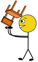 Stühle hochstellen farbig - Klassendienst, Amt, Stuhl, Stühle, hochstellen, Illustration, Zeichnung, Piktogramm, Smiley, Klassenraum, Stuhldienst
