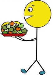 Obstdienst farbig - Klassendienst, Obstdienst, Obst, Früchte, Äpfel, Apfel, Banane, tragen, Tablett, Illustration, Zeichnung, Piktogramm, Smiley, Klassenraum
