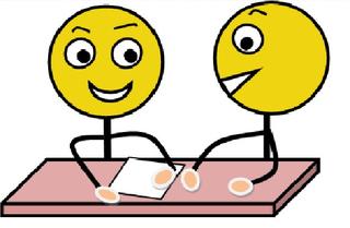 Partnerarbeit farbig - Partnerarbeit, Sozialform, Arbeitsform, Dialog, Gespräch, Gedankenaustausch, sprechen, reden, austauschen, zwei, Impulskarte, Stationenarbeit, Zeichnung, Illustration, Piktogramm