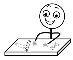 Aufforderung: Schere und Kleber bereithalten s-w - Hinweis, Impulskarte, Illustration, Zeichnung, Aufforderung, Schere, Kleber, Klebstoff, Tisch, Smiley