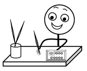 Aufforderung: Malsachen bereitlegen s-w - Hinweis, Impulskarte, Illustration, Zeichnung, Aufforderung, Tuschkasten, Malkasten, Farbe, Farben, Pinsel, Wasser, Becher, Tisch, Smiley