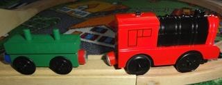 Magnet 2 - Magnet, Magnetismus, Magnetgesetz, anziehen, abstoßen, Nordpol, magnetischer Nordpol, Südpol, magnetischer Südpol, Polgesetz, grün, rot, Spielzeug, Spielzeugeisenbahn, Eisenbahn, Anhänger