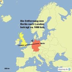 Landkarte Von Berlin nach London - Landkarte, Deutschland, Großbritannien, Entfernung, London, Berlin, Luftlinie, 1000 km, Maßstab, Mathematik