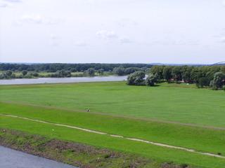 Elbtalaue bei Dömitz - Urstromtal, Elbe, deutscher Fluss, Elbtalaue, Weide, Landschaft, Mecklenburg Vorpommern, Wiese, Sommer, Jahreszeit