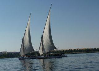 Felukenfahrt auf dem Nil - Feluke, Felucke, Boot, Segelboot, Nil, Luxor, Ägypten, segeln