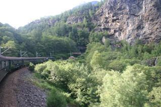Flambahn, Norwegen - Flambahn, Flam, Norwegen, Eisenbahn, Zug, Verkehr, Landschaft, Tunnel, Schreibanlass, Felsen, Gebirge, Infrastruktur, Oberleitung