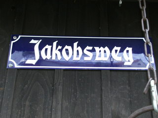 Jakobsweg - Jakobsweg, Pilger, pilgern, Schild, Hinweis, Weg, Wegstrecke