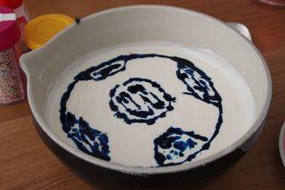 Fußball-Quark - Nachspeise, Dessert, Süßspeise, Quark, Jogurt, Fußball, Ball, Geburtstag, Geburtstagsfeier, Lebensmittelfarbe, eingefärbt