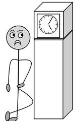 Verb: warten / wait - Verb, Illustration, Zeichnung, warten, wait, clipart, Bildkarte