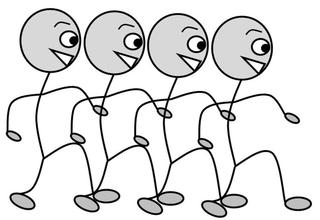 Verb: marschieren / march - Verb, Illustration, Zeichnung, marschieren, march, clipart, Bildkarte