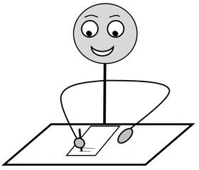 Verb: schreiben / write - Verb, Illustration, Zeichnung, schreiben, write, clipart, Bildkarte