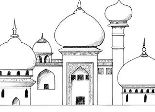 Palast aus 1001 Nacht - Palast, Tempel, Residenz, Orient, 1001 Nacht, Märchen, Zwiebeltürmchen, exotisch, Vorlage, Zeichnung, Bauwerk, prunkvoll, Herrschersitz, Architektur, Dekor, monumental