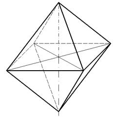 Oktaeder - Mathematik, Geometrie, Doppelpyramide, Körper, Körperdarstellung, quadratisch, Schrägriss, Schrägbild, Ecke, Kante, Volumen, Rauminhalt, Oberfläche, Fläche