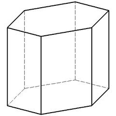 Regelmäßiges sechsseitiges Prisma (2) - Mathematik, Geometrie, Prisma, Sechskant, Körper, Körperdarstellung, sechsseitig, Schrägriss, Schrägbild, Ecke, Kante, Volumen, Rauminhalt, Oberfläche, Fläche