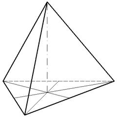 Regelmäßiger Tetraeder - Mathematik, Geometrie, regelmäßig, dreiseitig, Pyramide, Körper, spitz, Schrägriss, Schrägbild, Ecke, Kante, Volumen, Rauminhalt, Oberfläche, Fläche