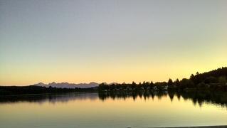 Abendstimmung - Abendstimmung, Dunkelheit, Dämmerung, See, Kontraste, Spiegelung, Wasser, blaue Stunde, blau, gelb, orange