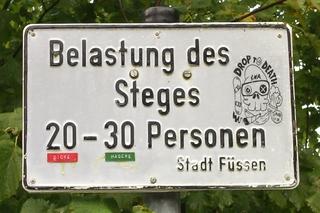 Schild am Lechfall - Schild, mager, dick, witzig, Füssen, Lechfall, Belastung, Gewicht, Masse, Mathematik, Durchschnitt