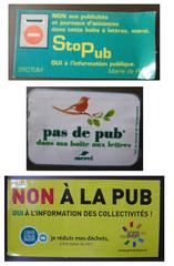 Hinweisschilder auf französischen Briefkästen - boîte aux lettres, publicité, non a la pub, pub