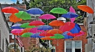 Bunte Schirme - bunt, Schirm, Schirme, Kunst, Farbe, farbenfroh