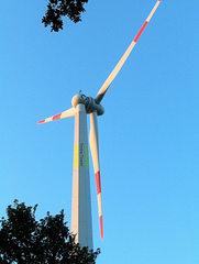 Windrad 'Timber Tower' #1 - Technisches Bauwerk, regenerative Energie, Windrad, Energie, Energiegewinnung, Elektrizität, Kraftwerk, Windkraft, Rotor, Strom, Perspektive, erneuerbare Energie, Windkraftwerk, Physik, Holz, Holzkonstruktion, Gondel, Flügel