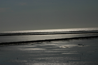 Abendstimmung an der Nordsee - Nordsee, Flut, Lahnungen, Abendstimmung, Meer, Stimmung, Abend, glitzern, Urlaub, Erholung, Meditation, Spaziergang