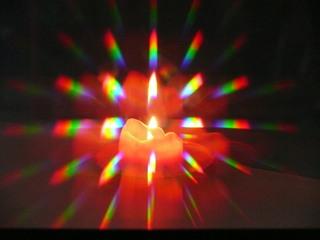 Spektralzerlegung einer Kerzenflamme - Spektralzerlegung, Licht, Kerze, Flamme, Kerzenflamme, Optik, Farbe, Spektralfarbe