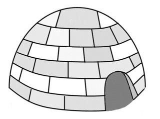 Iglu - Iglu, Eskimo, Inuit, Schnee, Eis, wohnen, Haus, Hütte, Schneehaus, bauen, Anlaut I, Zeichnung, Bauwerk, Bauform, Wohngebäude